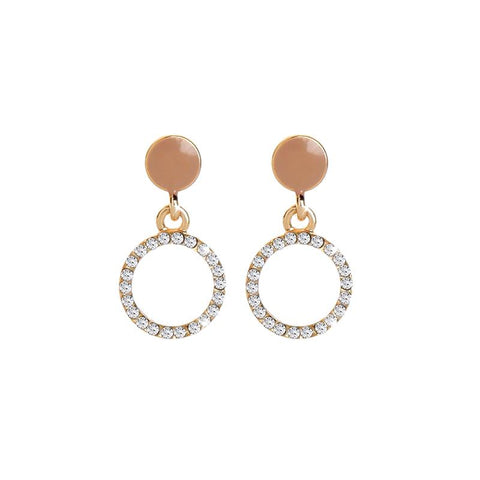 Roisin Enamel Circle Crystal Disc Earring Taupe
