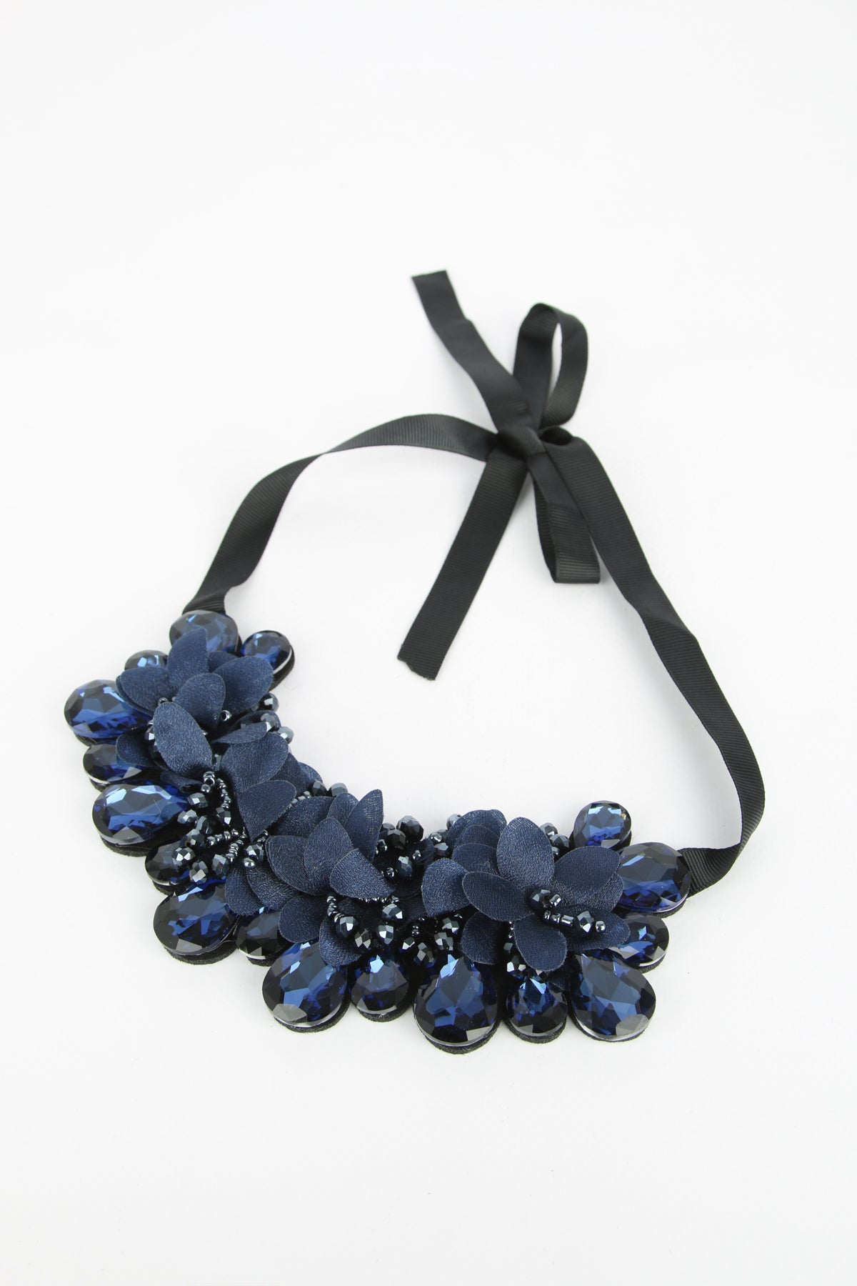 Ruby Statement Ribbon Tie Necklace Navy