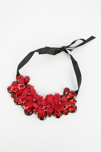 Ruby Statement Ribbon Tie Necklace Red