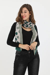 Sam Green Polkadot Rectangle Scarf