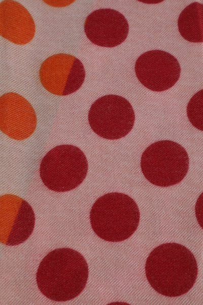 Sam Red and Orange Polkadot Rectangle Scarf