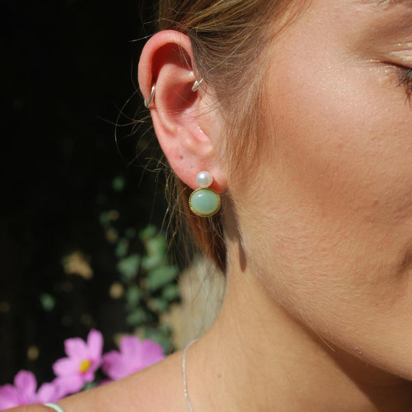 Sandra Pearl Earring Mint and Gold