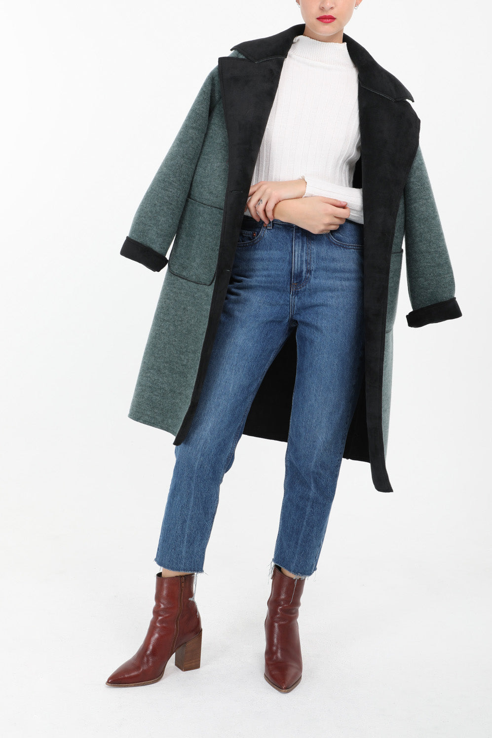 Saoirse Teal and Black Lapel Coat