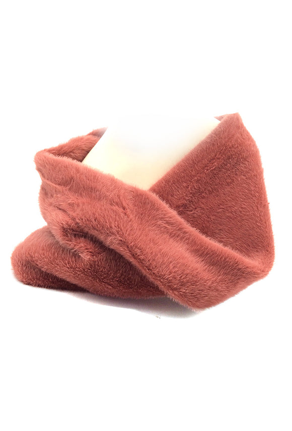 Sara Coral Faux Fur Snood