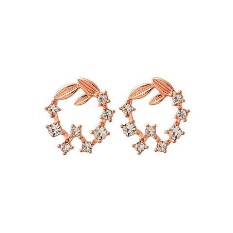 Sheila Leaf and Crystal Circle Earring