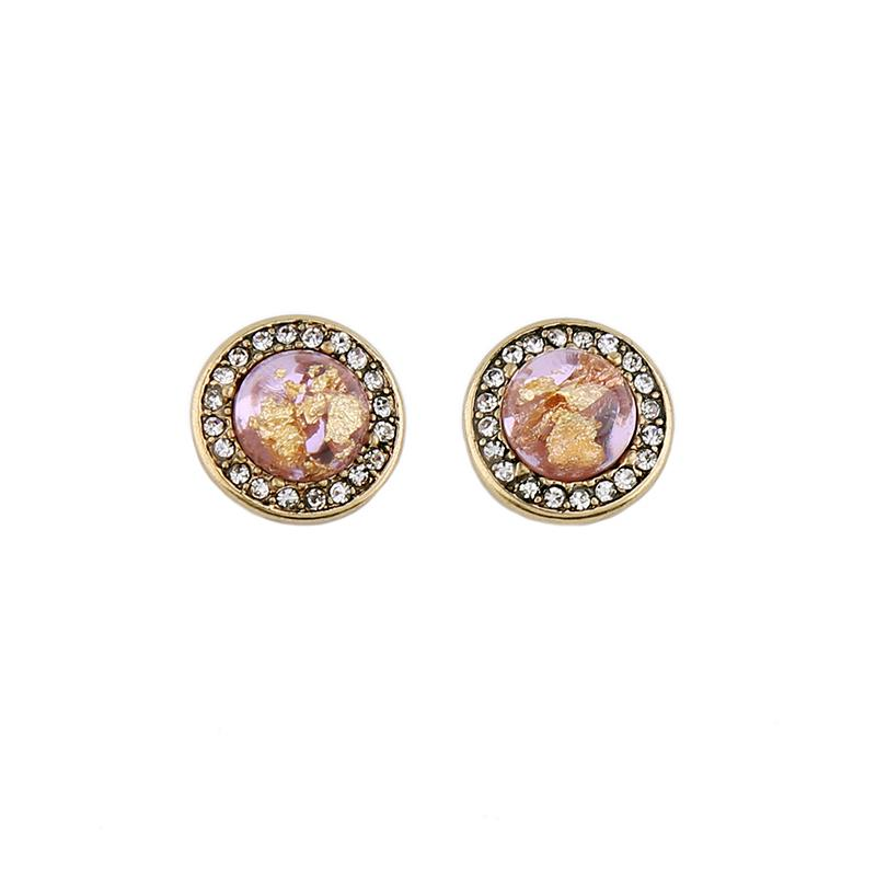 Mottle Pink Shimmer Circle Earring