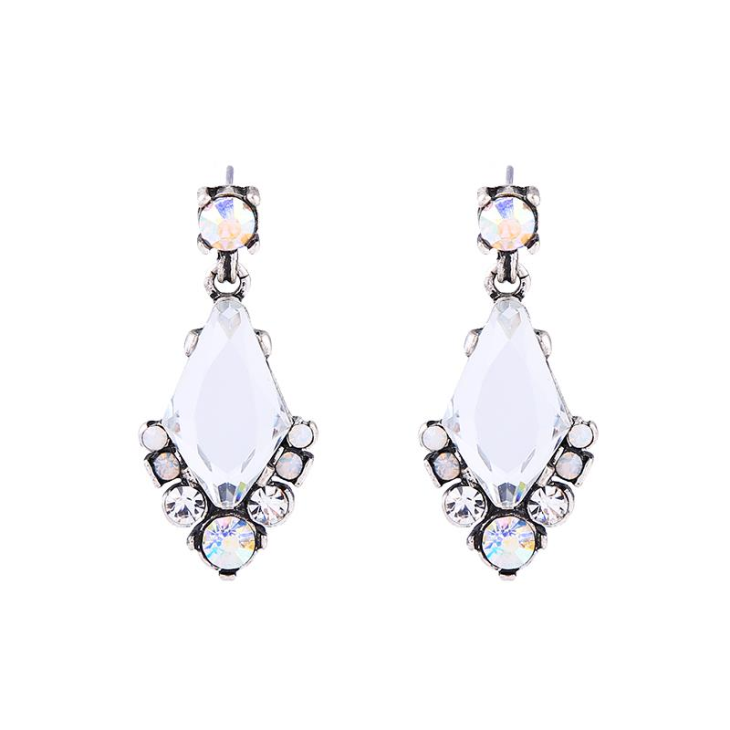 Catherine Silver Crystal Gem Drop Earring