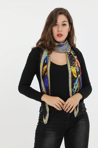 Simone Large Square Pleat Scarf Black Multi