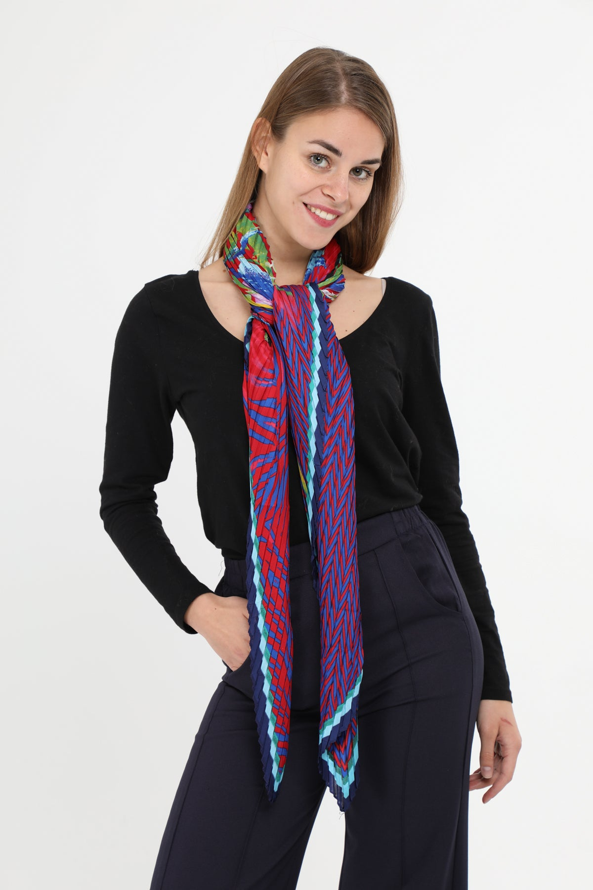 Simone Large Square Pleat Scarf Red Multi