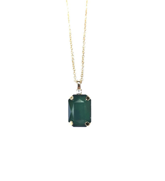 Aria Forest Green Gem and Crystal Necklace