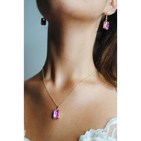 Aria Ombre Pink Gem and Crystal Necklace