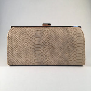 Snake Skin Nude Clutch Bag