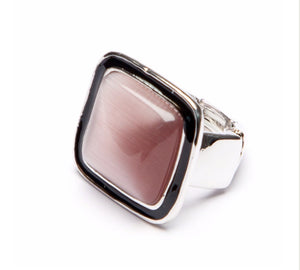 Square Pink Stone Ring