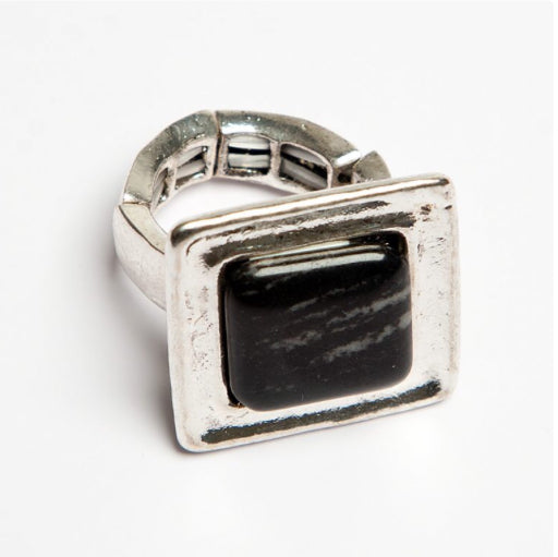 Black Statement Square Ring
