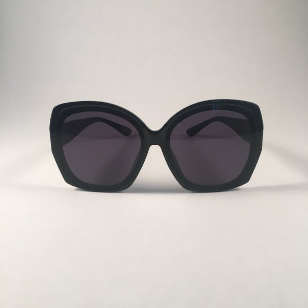 Black Oversized Curved Sunglasses