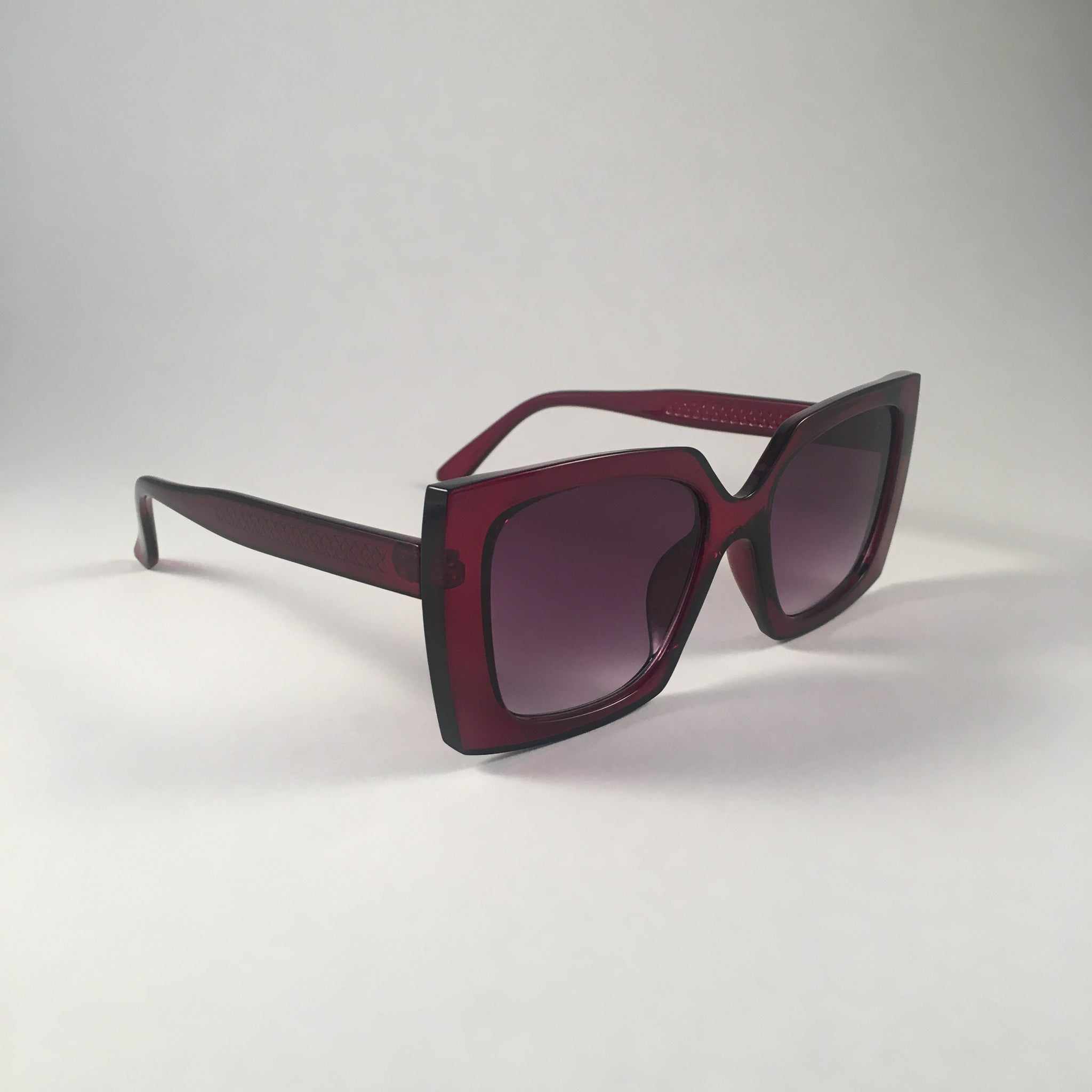 Burgundy Oversized Square Sunglasses