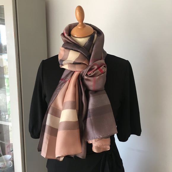 Taupe Check Silk Feel Scarf
