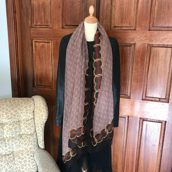 Taupe Gucci Style Chiffon Feel Scarf