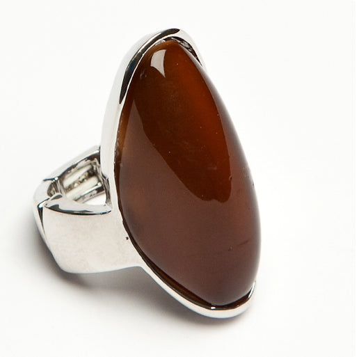 Teardrop Stone Ring Brown