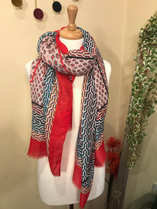 Tess Red and Pink Multi Print Scarf