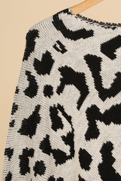Thalia Animal Print Poncho White and Black