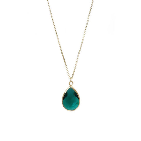 Tiffany Faceted Teardrop Necklace Emerald Green