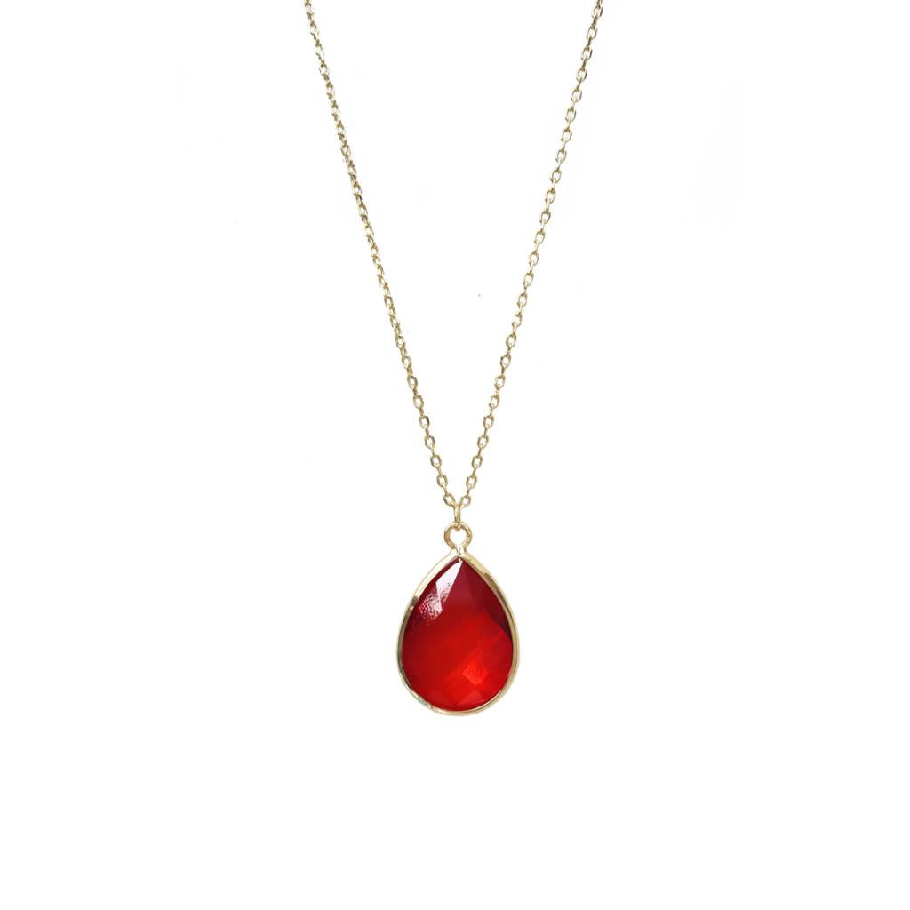 Tiffany Faceted Teardrop Necklace Red