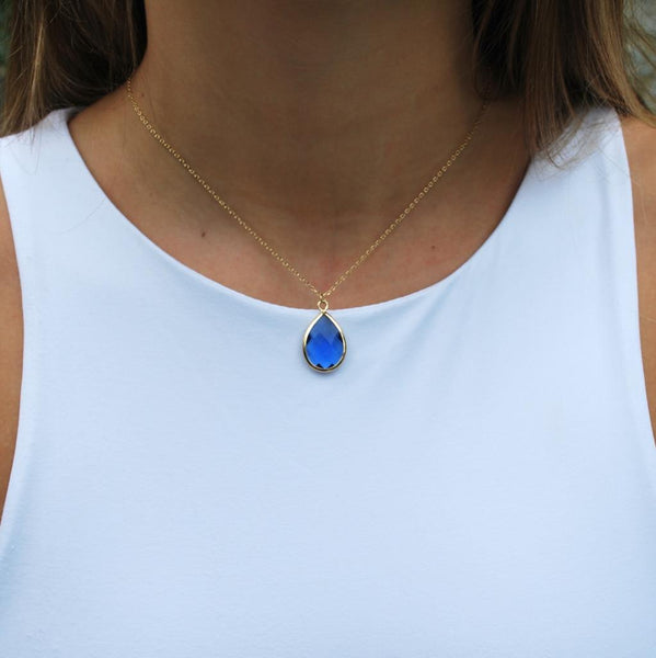 Tiffany Faceted Teardrop Necklace Blue