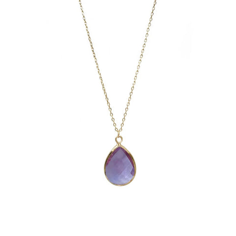 Tiffany Faceted Teardrop Necklace Lilac