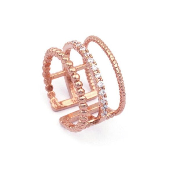 Tina Triple Band Crystal Rose Gold Ring