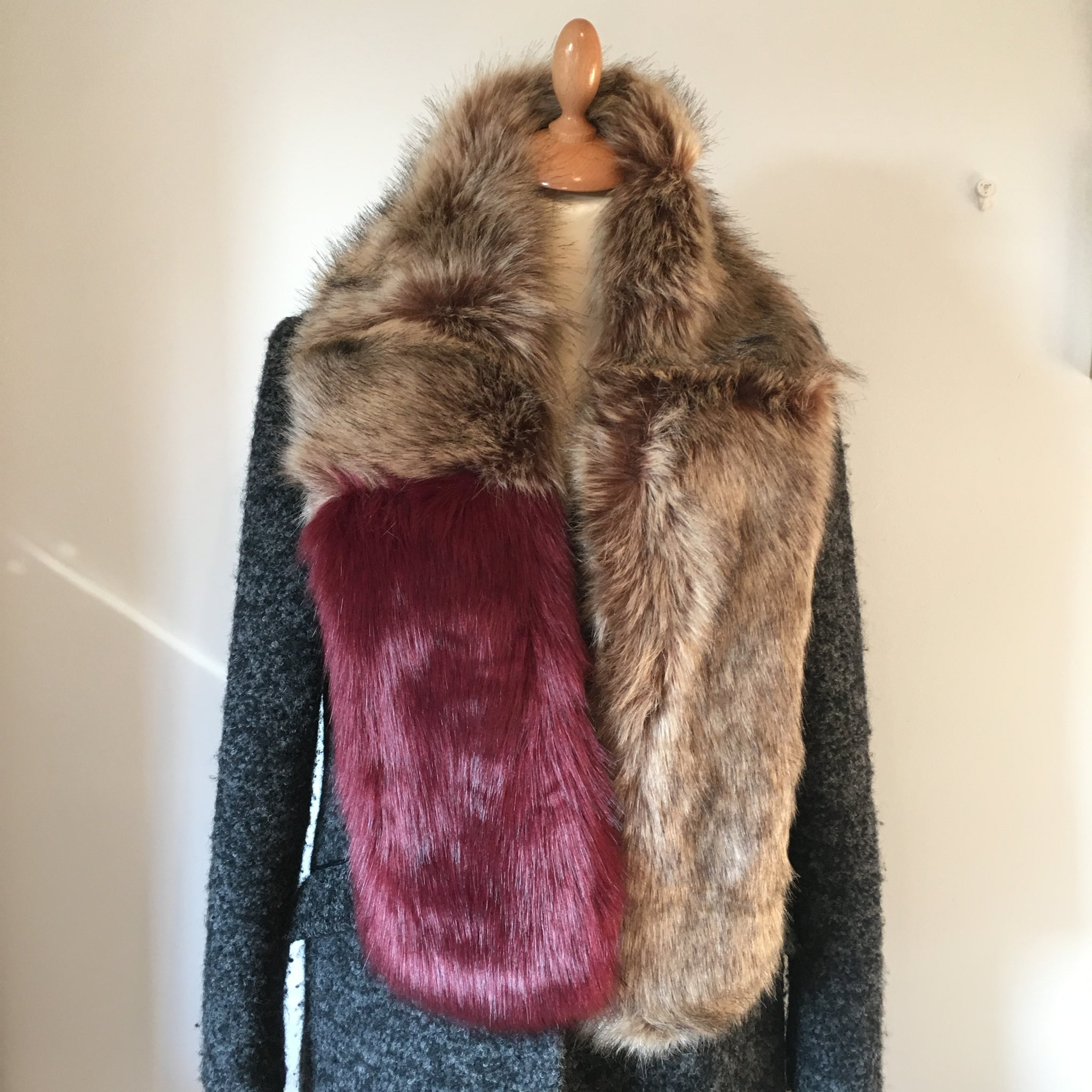 Two Tone Faux Fur Stole Burgundy and Taupe