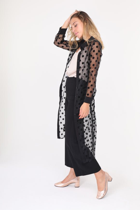 Ivy Black Sheer Pokedot Shirt Dress