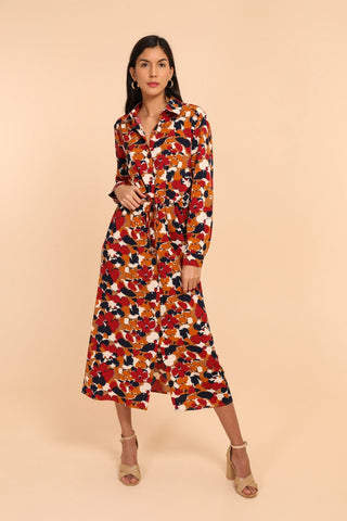 Vanessa Midi Shirt Dress Mustard Print