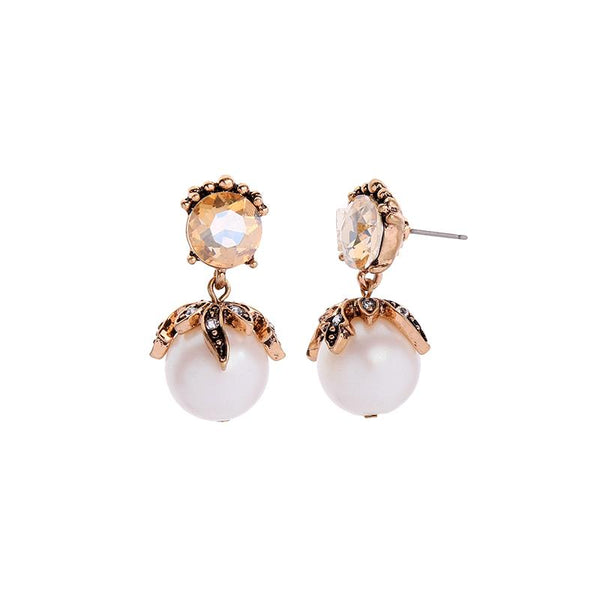 Kylie Large Pearl and Amber Earring