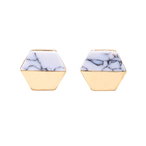 Violet Hexagon Earring in White Marble and Gold