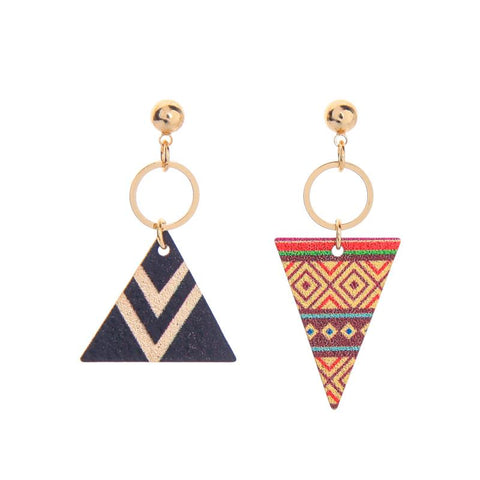 Yolanda Aztec Print Pyramid Earrings