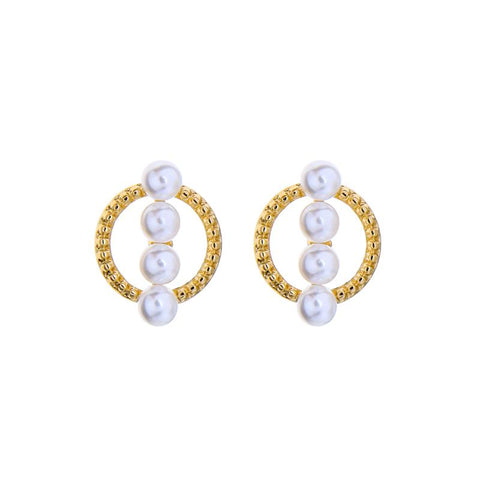 Zoey Hoop Earring with Four Pearls