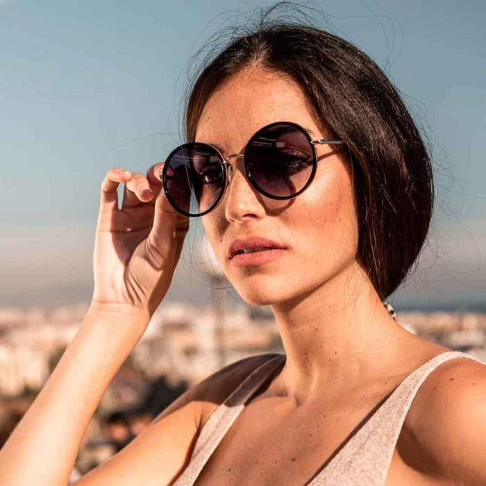 Janis Black Oversized Round Sunglasses