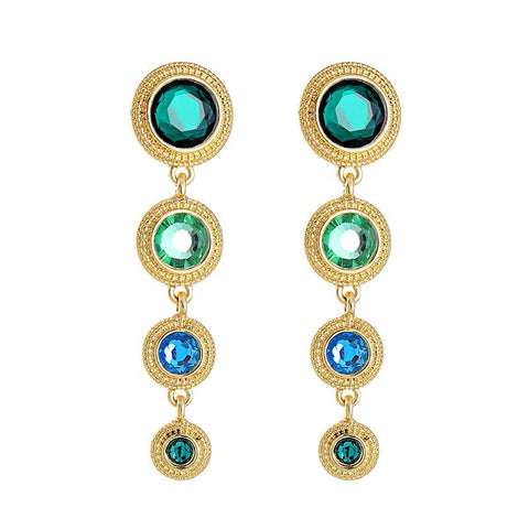 Green and Turquoise Disc Earrings
