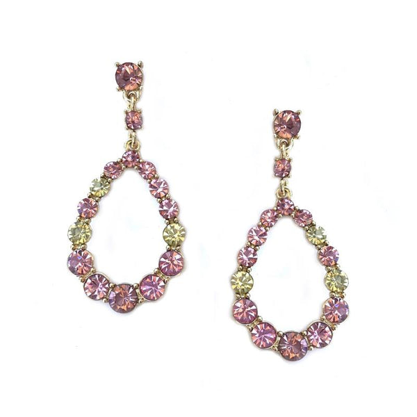 Delia Oval Pink and Lime Gem Earring