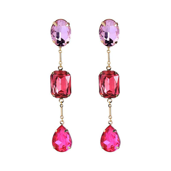 Catherine Triple Pink Gem Earring