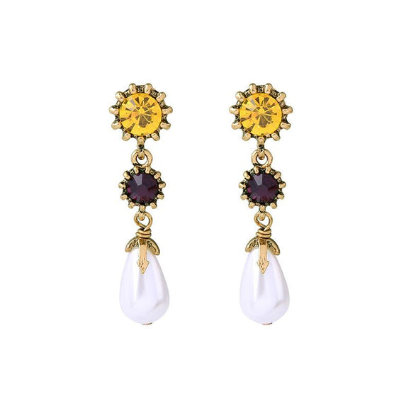 Pearl Drop Earring with Yellow & Red Gem