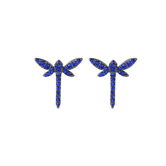 Blue Crystal Dragonfly Earring