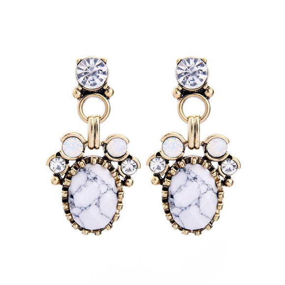Marble Effect Gem Earring