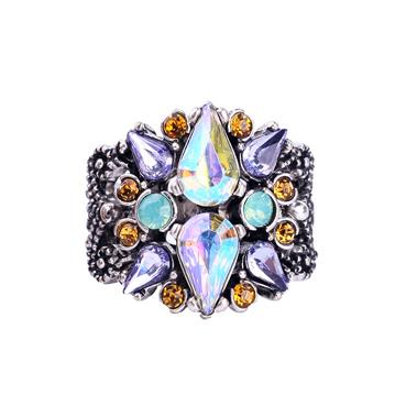 Crystal Gem Ring with Lilac Turq and Amber
