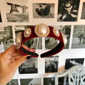 Burgundy Deluxe Pearl Crown