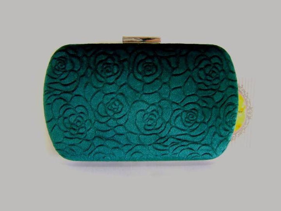 Emerald Green Velvet Clutch Bag