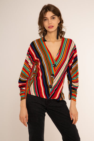 Shannon Stripe Top Red