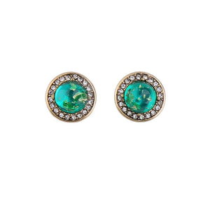 Mottle Green Shimmer Circle Earring