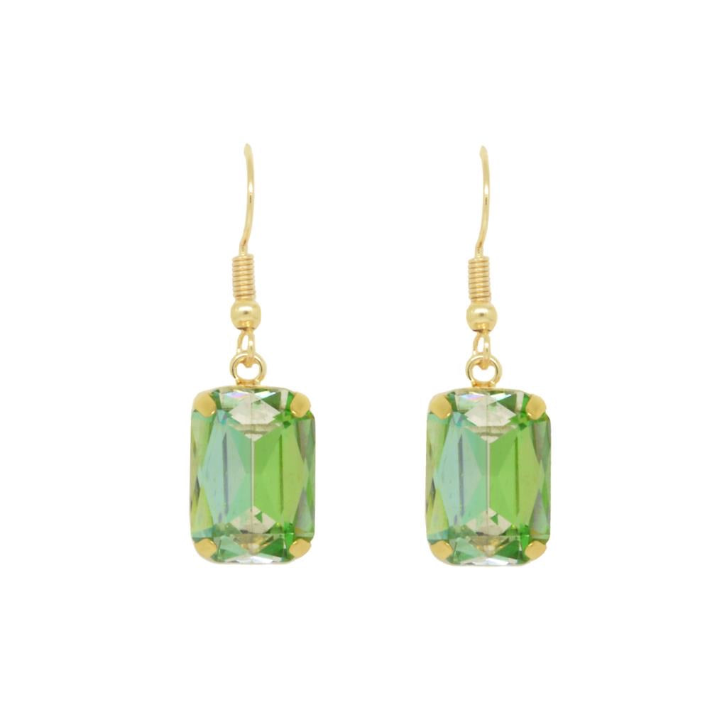 Clio Gold Claw Set Gem Earring Ombré Green